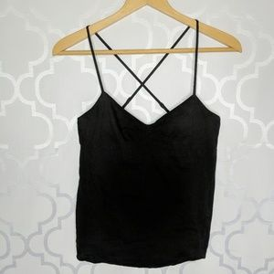 Theory Camisole Linen Blend Black Ruched Bust